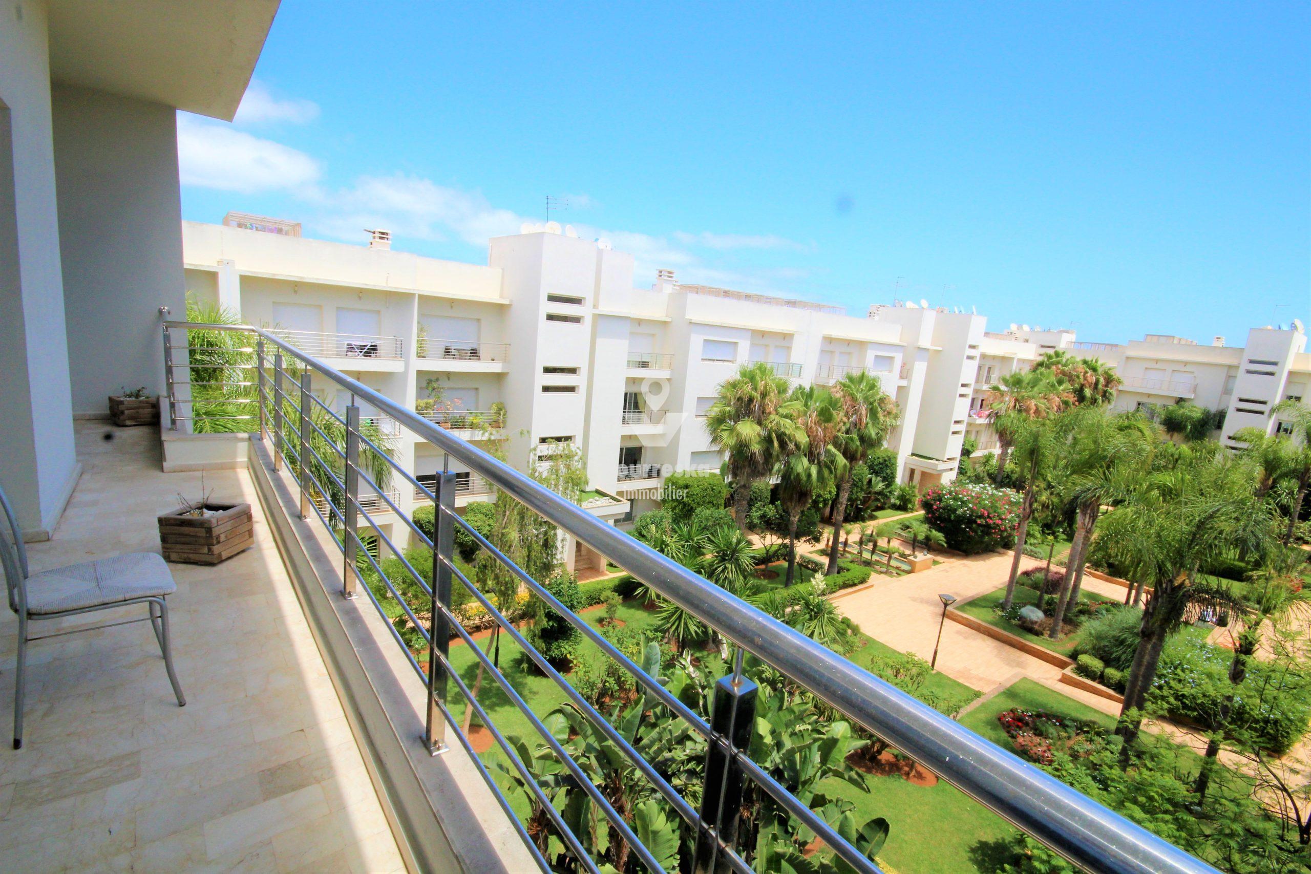 Casablanca, Ain Diab, loue appartement meublé de 3 ch Terrasse double